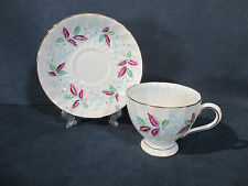 Tuscan Bone China Cup Saucer Hand Painted Green Purple Leaves Vine Tea Chocolate