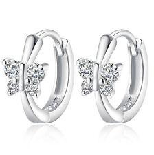 Mujer Precioso  Pendientes Aros 925 Plata Cristal Mariposa Flor Aretes Ear Stud
