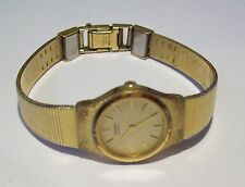 Vintage Ladies SEIKO Quarz Goldtone Sleek Band Watch