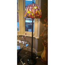 Interiors 1900 Large Stained Glass Floor Lamp Extremely Rare PURPLE GREEN & AMBE