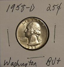 1958-D SILVER WASHINGTON QUARTER - BRILLIANTLY UNCIRCULATED + WITH LIGHT TONING
