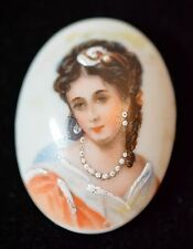 Limoges Handpainted Porcelain Portrait Pin Brooch