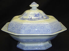 Antique Ironstone Mayer Garden Scenery Blue Transferware Covered Serving Dish