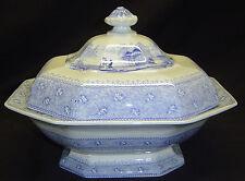Antique Ironstone Mayer Garden Scenery Blue Transferware Covered Serving Dish