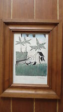 """Dessin pastel ancien orientaliste Art Déco """"Paysage asiatique""""cadre bois massif."""