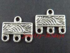 140pcs Tibetan Silver Rectangle 3-to-1 Connectors 12x10mm 20