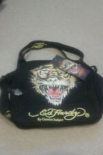Ed hardy designer unisex cross over/ messenger black bag bnwt tiger front