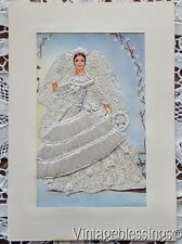 Vintage Silk Embroidered Lace Wedding Card Madrid Spain Gorgeous Bride