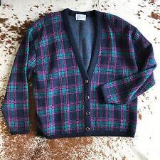 Vintage PENDLETON womens Tartan Plaid CARDIGAN jacket sweater Virgin Wool 3X