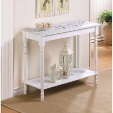 carved top distressed WHITE Shabby Wood Sofa console Entry Hall long Table shelf