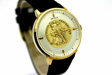 *NOS* Vintage BENRUS St. Chrisopher Protect Us Gold Plaq Men's Dress Watch CLEAN