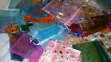 JOB LOT  200 IMPERFECT ORGANZA BAGS Mixed Sizes Colours Plain & Patterned