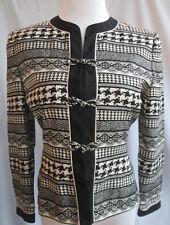 Papell Petite Jacket Silk Geometric Black White Chinese Button Size 6P