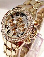 Women Ladies Wrist Gold Watch Classic Steel Luxury Diamante Bling Metal Strap