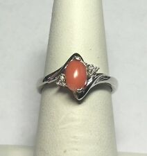 Sterling Silver Genuine Pink Coral & Diamond Ladies Ring