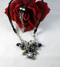 Coldwater Creek Black Beaded Silver tone Necklace  CAT RESCUE