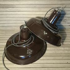 Vintage Industrial Factory BROWN ENAMEL SHADE Lights Pendant BUNKER Lamps