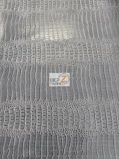 BIG NILE CROCODILE LEATHER VINYL FABRIC - Sterling Silver - UPHOLSTERY BY YARD