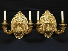 Pair Vintage Heavy Gothic Baroque Brass Bronze Two Light Wall Sconces