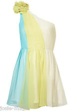 Rare @ Topshop UK 14 Asymmetric Contrast Dress Corsage One Shoulder Blue Yellow