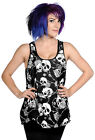 BANNED Skull and Roses Vest Top T-Shirt Goth Punk Rock Black WHITE UK 8 10 12 14