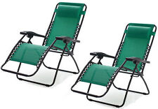 Green Zero Gravity Chairs Outdoor Folding Recliner Lawn Patio Pool Camping Beach