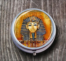 EGYPTIAN PHARAOH TUTANKHAMUN GOLD MASK PILL BOX ROUND METAL -sed4Z