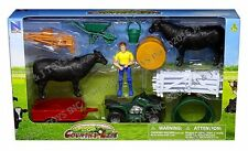 NEWRAY COUNTRY LIFE - FARM RANCH SET WITH FARMER, COWS & ATV Play Sets