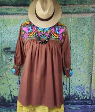 Brown & Multi-Color New Style Blouse Doves Mayan Chiapas Mexico, Hippie, Cowgirl