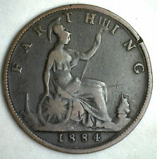 1884 Bronze Farthing Great Britain UK Coin You Grade
