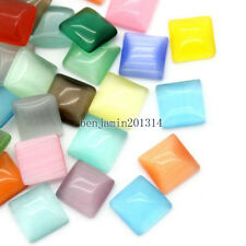 100pcs 6x6mm Mixed cat's eye square glass dome cabochon flatback for jewellery