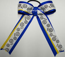 Volleyball Ponytail Holder Hair Bow Blue Yellow Ribbon Girls Ladies Accessories