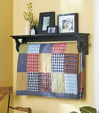 DELUXE QUILT BLANKET HOLDER WALL RACK WITH SHELF SCROLLED IN BLACK FINISH