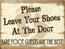 Sun Protected Please Leave Your Shoes at the Door Metal Sign, Rustic Décor
