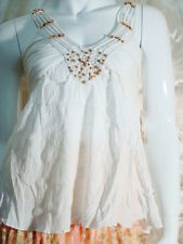 NWT west seal white crochet trim wooden beads cotton tank top small