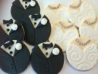 6 EDIBLE CAKE CUPCAKE TOPPERS DECORATIONS WEDDING BRIDE AND GROOM 4CM DISCS