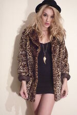 MISS SELFRIDGE SIZE MEDIUM 12-14 FAUX FUR COAT LEOPARD PRINT JACKET WOMEN LADIES