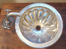 Silver colour Moroccan hand hammered shell round sink wash basin + design