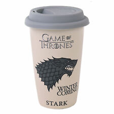 HOUSE STARK TRAVEL MUG CERAMIC SILICONE LID THERMAL GAME OF THRONES DIRE WOLF