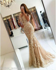 Backless Lace Appliques Mermaid Party Prom Gown Long Formal Evening Dress Custom