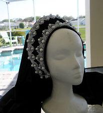 Silver Grace Tudor Renaissance French Hood Headpiece Hat 4 Dress Gown Necklace