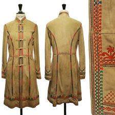 SHANGHAI TANG tribal embroidered beige suede leather long jacket US6 UK10 FR38 M