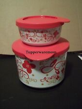 NEW TUPPERWARE ITEM 2 SET PARTY POPPING STACKING CONTAINERS RED & GOLD SCROLLS