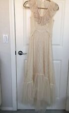 VINTAGE 1970s Bohemian Lace Tulle Wedding Dress Gown