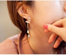 Fashion Charm Resin Crystal Drop Tassels Dangle Golden Butterfly Stud Earring