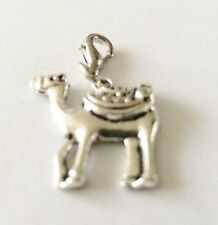 LOVELY LARGE 3D SILVER CAMEL CLIP ON CHARM  FOR BRACELETS - SILVER ALLOY - NEW