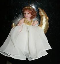 "MOON ANGEL DOLL Ornament in White on Gold Moon 6"" 11316 Bin#1"