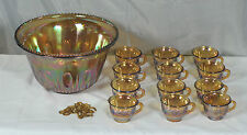 Iridescent Gold Carnival Glass Princess Punch Bowl With 12 Cups & 10 Hooks