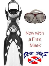 MARES X-STREAM OPEN HEEL SCUBA DIVING AND SNORKELING FINS BLACK FREE MASK SIZE R