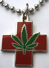 Medical Marijuana Pot Hemp Ganja Cannabis Weed Smoke Pendant Necklace w/chain